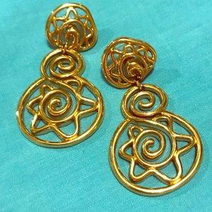 Goldtone Star Swirl Earrings